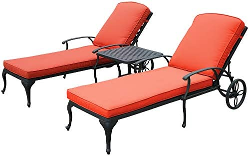 HOMEEFUN Chaise Lounge Outdoor Chair with Red Cushions, Aluminum Pool Side Sun Lounges with Wheels Adjustable Reclining, Patio Furniture Set, Pack of 2 Antique Bronze
