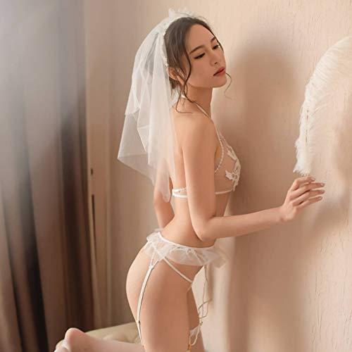 donne Quattro canotta della G pizzo stringa pezzo costume sposa Republe biancheria Roleplay Velo giarrettiera della qEdff