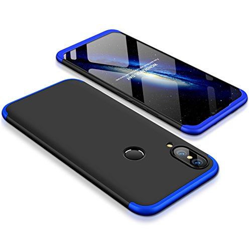 HUAWEI P20 Lite Case Slim 3 in 1 Hard PC Matte Surface Non Slip Shockproof Anti-Scratches Full Body Protective Cover for P20 Lite (2018) (Black Blue  Huawei P20 Lite)