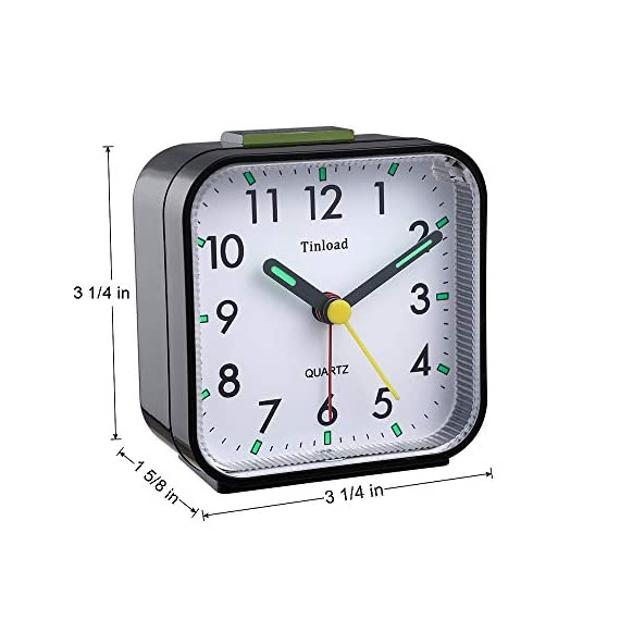 "Tinload Small Battery Operated Analog Alarm Clock Silent Non Ticking, Ascending Beep Sounds, Snooze,Light Functions, Easy Set(Black) - Compact Size -- measured at 3. 25"" x 3. 25"" x 1. 6"" , light weight (3. 5 oz), 1 AA battery operated, fits perfectly as a desk /bedside / nightstand wake up clock, but also great for travel alarm clock . Completely Silent - Super quiet concise design alarm clock without annoying tick tock sound, ideal for those who need complete silence to fall asleep. Snooze and Light Function- Snooze and light button locates on easy-to-find top place. Hold face down for 5 minutes snooze or to light up the clock face on demand to see the dial momentarily in the darkness. - clocks, bedroom-decor, bedroom - 41G%2BbmmvQNL. SS570  -"