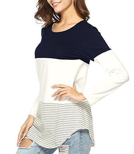 Glamours Womens Casual Split Joint Floral Print Long Sleeve Striped Shirt Blouse Tops Blue (Glamour Print Blouse)
