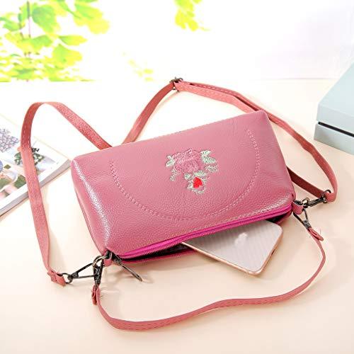 Kiminana Messenger Bags,Women's Fashion Simple Embroidery Multi-Function Zipper Shoulder Diagonal Package Pink by Kiminana (Image #2)