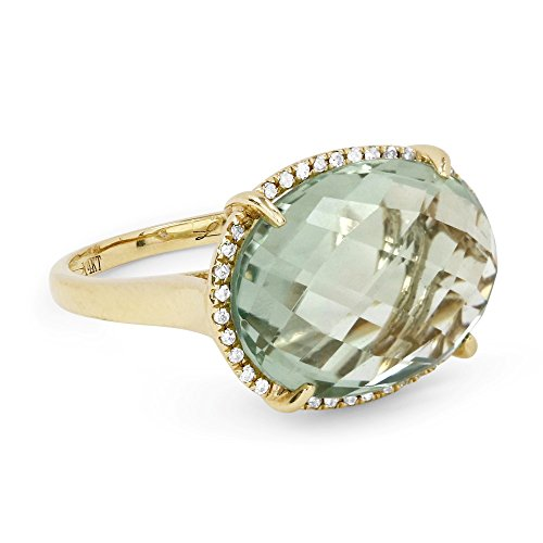 Eros' Iced Showroom Green-Amethyst Gemstone & Accented White Diamond Ring Set In 14K Yellow-Gold 0.1 Ct Gemstones