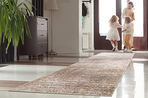 Modern Collection Runner - Antep Rugs Florida Collection Distressed Modern Abstract Polypropylene Indoor Area Runner Rug (Beige, 2' x 7')