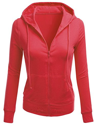 - TL Women's Solid Warm Thin Thermal Knitted Casual Zip-Up Hoodie Jacket (MEDIUM, COTTON_CORAL)