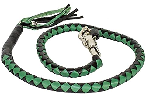 MOTORCYCLE RIDERS BLACK GREEN BRAIDED OLD SCHOOL GENUINE LEATHER WHIP 42 INCHES - Old School Auto