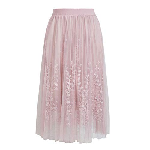 - Thenxin Women's Tulle Pleated Skirt Elastic Waist Embroidery Solid Color A-Line Long Skirt(Pink,Free Size)
