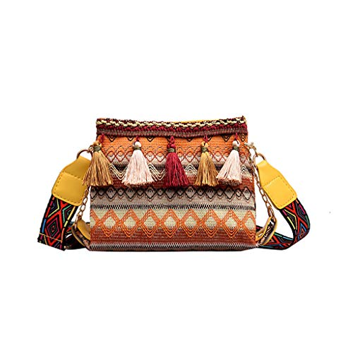 Ladies Rucksack Tassel Shoulder Bag,2DXuixsh Vintage Fashion Print Tassel Wild Personality Shell Bags Messenger Yellow