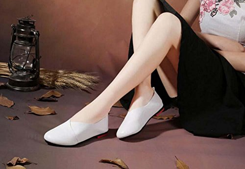 Shoes Loafer Shoes Women White Ballerina Soft Toe Casual 43 On Pregnant Large Driving Slip 35 Size Women Shoes Comfortable Round Pump Bottom 14tzZz