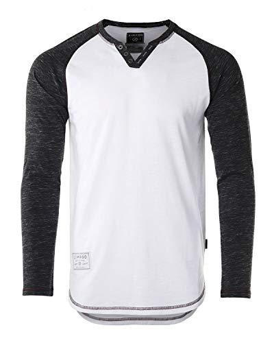 (ZIMEGO Mens Long Sleeve Baseball Raglan V-Neck Henley Round Bottom T-Shirt White/Black)