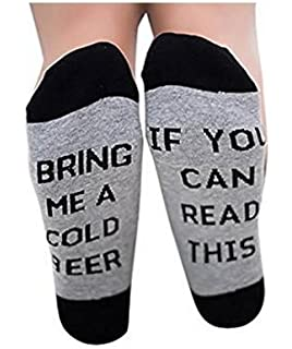 Buweiser Calcetines de algodón unisex IF YOU CAN READ THIS BRING ME A BEER Calcetines Calcetines