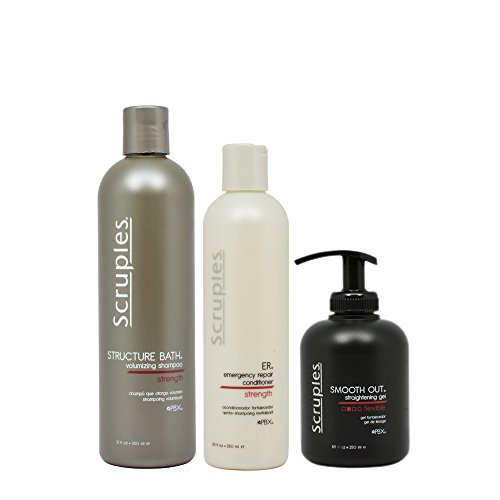 (Scruples Structure Bath Volumizing Shampoo, 12 oz & Emergency Repair Conditioner, 8.5 oz & Smooth Out Straightening Gel, 8.5 oz Set)