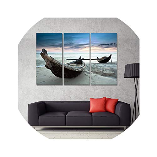 three thousand Oil Painting Canvas Beach Landscape Boat Wall Art Home Decor Modern Wall Picture for Living Room 3 PCS No Frame,12x24inchx3pcs