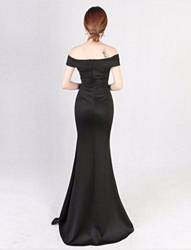 Black Falda Elegante Longitud WBXAZL Banquete de Host Largo Noche Cola Vestido de Hombro Estilo Larga Vestido del Pescado pwTwqZf