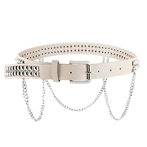 (Women Faux Leather Square Metal Spike Studded Fashion Belt Waist with Punk Metal Chain (White))