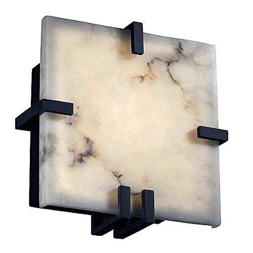 Justice Design Group Lighting FAL-5550-MBLK-LED1-1000 LumenAria - Clips Square Wall Sconce - Matte Black - Faux Alabaster - ()