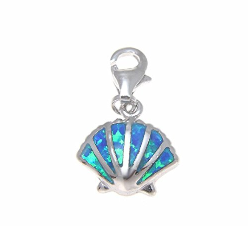 Synthetic Opal Shell - 925 Sterling silver Hawaiian sunrise shell blue synthetic opal clasp enhancer pendant charm