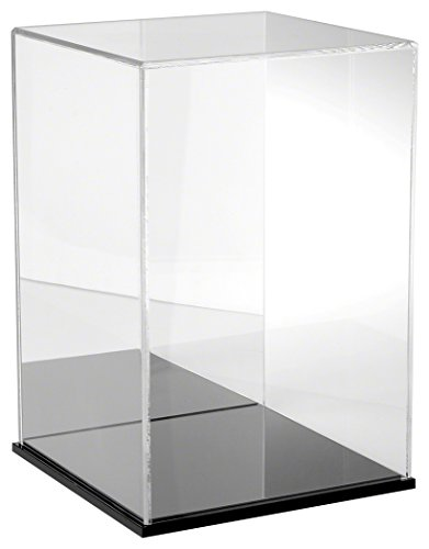 Plymor Brand Clear Acrylic Display Case with Black Base (Mirror Back), 10'' W x 10'' D x 15'' H by Plymor