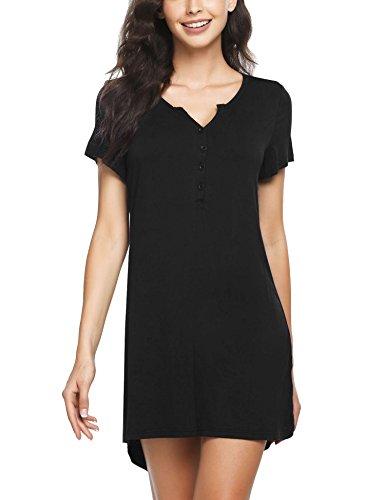 Langle Womens Sleepwear Comfy Nightgown Short Nightshirt Button Slip Dress (Black, Small) (Nightshirt Sleeveless)