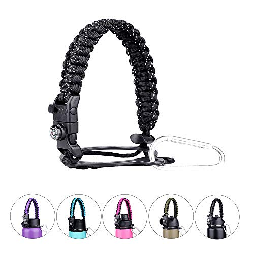 Red King Paracord Handle - Paracord Carrier Strap Cord with Safety Ring,Compass and Carabiner for Wide Mouth Water Bottles 12 Oz - 64 Oz - Ideal Flask Accessories for Hiking (Black and White)