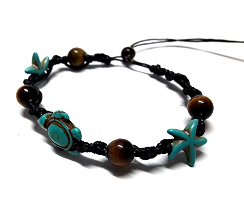 Bracelet or Anklet Sea Turtle-Star in Turquoise Bracelet Hemp Hawaiian Tiger Eye Stone Beads (Eye Of The Tiger Dance Costume)
