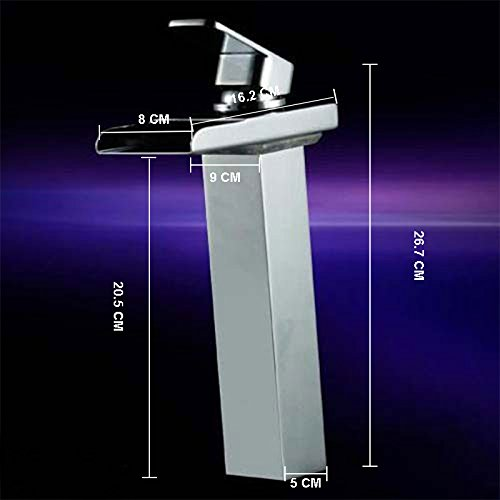 Wovier LED Water Flow Chrome Waterfall Bathroom Sink Faucet,Color Changing,Single Handle Single Hole Vessel Lavatory Faucet,Basin Mixer Tap Tall Body