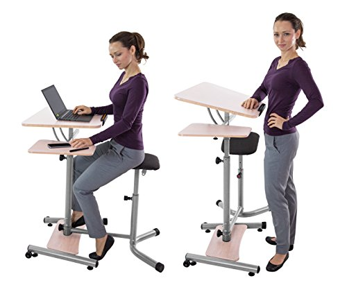 Teeter Sit-Stand Desk - Adjustable height ergonomic workstation with stool, side table, and foot platform. (Tan/Silver)