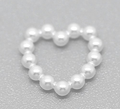 Pearl Heart Toggle (Housweety 500 White Acrylic Pearl Imitation Heart Embellishments Craft/ Wedding)