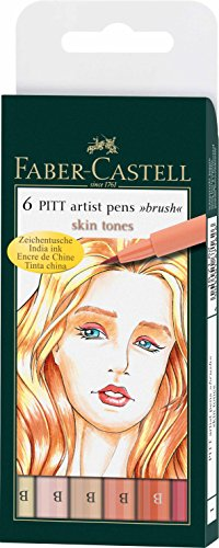 Faber Castell Pitt Artist Brush (Faber-Castell India Ink Pitt Artist Pens, Set of 6 Brush Tip (B), Skin Tones (FC167162))