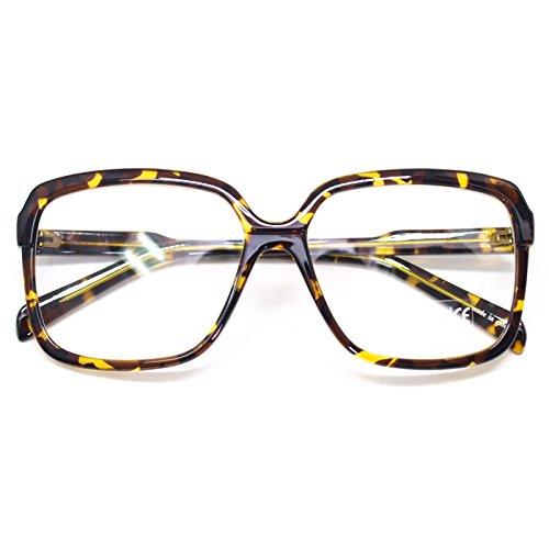 Big Square Horn Rim Eyeglasses Nerd Spectacles Clear Lens Classic Geek Glasses (Leopard9058, Clear)]()