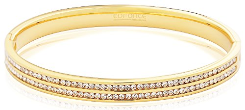 Edforce Stainless Steel Women's Stackable Gold Bangle Bracelet Hinged CZ Cubic Zirconia Cubic Zirconia Stackable Bangle