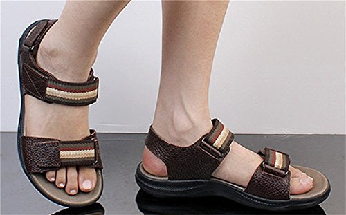 Stitch velcro pelle sandalo Insun in Brown Giacca gxqw6H