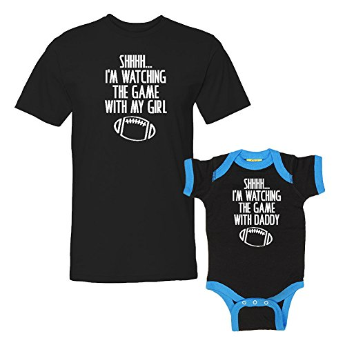We Match!! - Shhh... I'm Watching The Game with My Girl/with My Daddy - Matching T-Shirt & Ringer Baby Bodysuit Set (6M Bodysuit, T-Shirt 2XL, Black T-Shirt, Black/Cobalt Ringer, White -