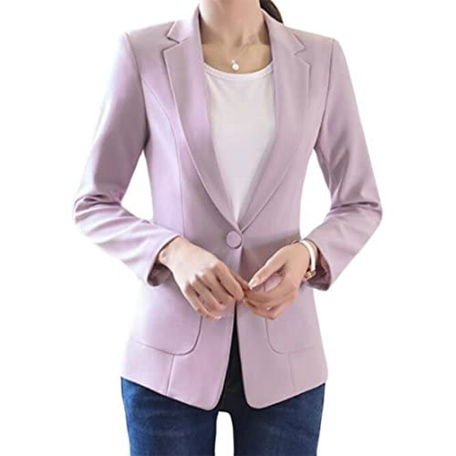 Cromoncent Womens Slim Work Office One Button Notched Lapel Blazers Jackets for sale