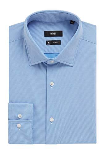 Hugo Boss Men's Jenno Performance Stretch Slim Fit Dress Shirt (17.5, Blue)