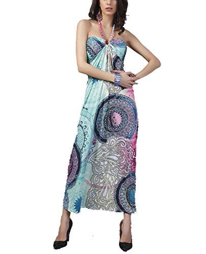 Yue Lian Damen Aztekisch Neckholder Strandkleid Paisley Schulterfrei