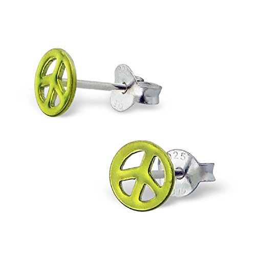 Happiness Collection Peace Sign - 925 Sterling Silver Light Green Peace Sign Stud Earrings 7397