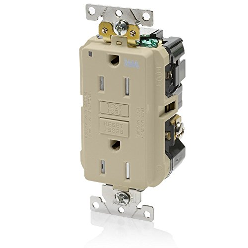 Leviton G5262-WTI 15A-125V Extra-Heavy Duty Industrial Grade Weather/Tamper-Resistant Duplex Self-Test GFCI Receptacle, Ivory, 15-Amp - Leviton Ivory 15a Tamper