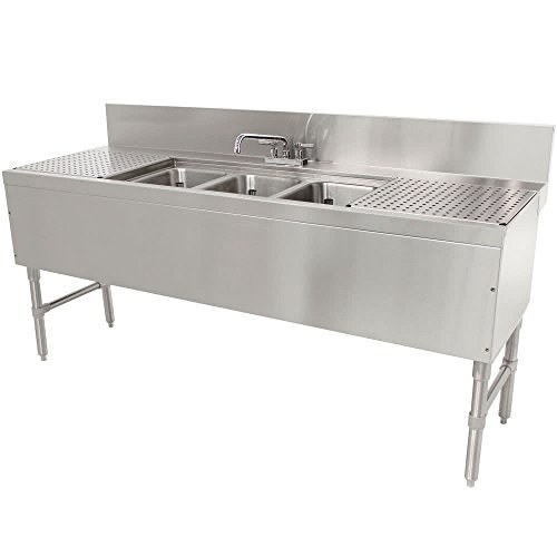 30 In Drainboard (Advance Tabco PRB-24-83C 3 Compartment Prestige Series Underbar Sink with (2) 30
