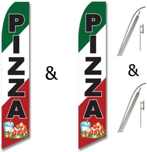 Fresh Hot Pizza King Swooper Flag w//Kit Pack of 2