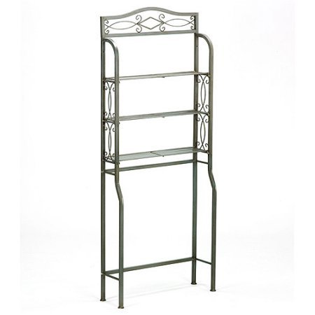 Over the Toilet Space Saver, Powder Coated Pewter Gun Metal Finish Three Wire Shelves for Storage Durable Metal Construction Designed to Sit Over Standard Toilet Tanks