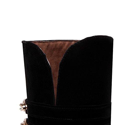 Toe Resistant AdeeSu Black Casual Womens SXC02118 Round Slip Suede Boots wfq74Rqxn