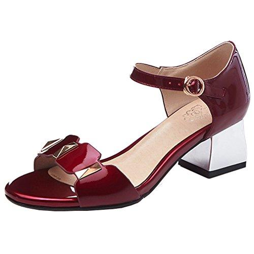 ENMAYER Womens Ankle Strap Nubuck Leather Sandals Block High Heels Open Toe Thick Heel Shoes Red Wine#134 N3iiUlEV