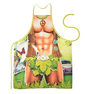 Unbekannt Set–Fun Delantal: Hippie Man–Impresa de Barbacoa y Delantal + Mini Deko Delantal