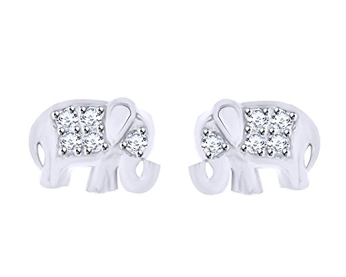 Round Cut White Natural Diamond Accent Cute Elephant Ladies Stud Earrings In 10K Solid White - Earrings Elephant 10k