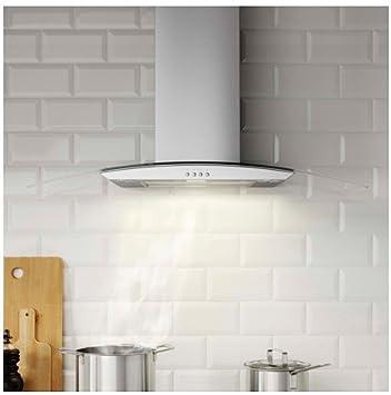 Ikea transparente Aire Campana para montaje en pared; de acero inoxidable/cristal; B; (90 cm): Amazon.es: Hogar