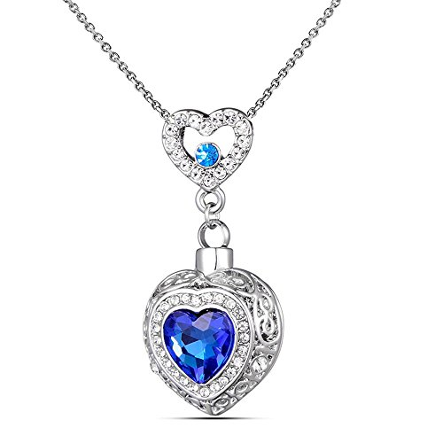 Heart Memorial Cremation Jewelry Urn Necklace for Ashs with Stainless Steel Chain+Funnel kit Classic Smooth Urn