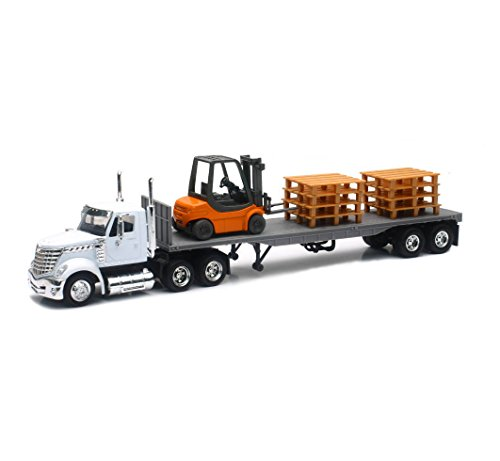NEW 1:43 NEWRAY TRUCK & TRAILER COLLECTION - WHITE LONG HAUL TRUCKER INTERNATIONAL LONESTAR FLATBED WITH FORKLIFT AND PALLETS Diecast Model By NEW RAY TOYS
