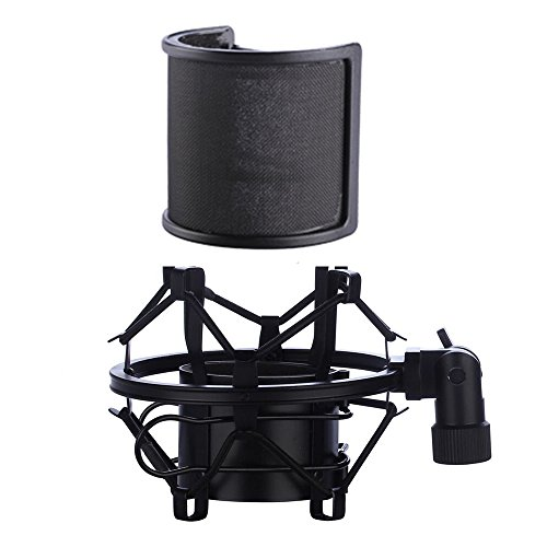 (Microphone Shock Mount with Pop Filter, Mic Anti-Vibration Suspension Shock Mount Holder Clip for Diameter 46mm-53mm Microphone)