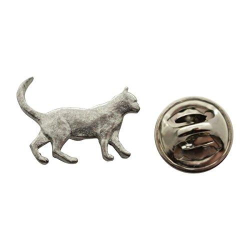 Cat Mini Pin ~ Antiqued Pewter ~ Miniature Lapel Pin ~ Sarah's Treats & Treasures